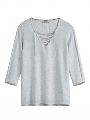 Longsleeve mit Lace-Up - Silver Grey HTR /