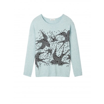 Sweater in bird print - Mineral Blue /