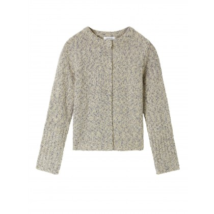Bouclé cardigan with snap buttons - Beige Fog /