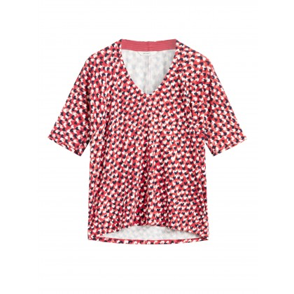 T-Shirt mit Herzen - Flower Red /