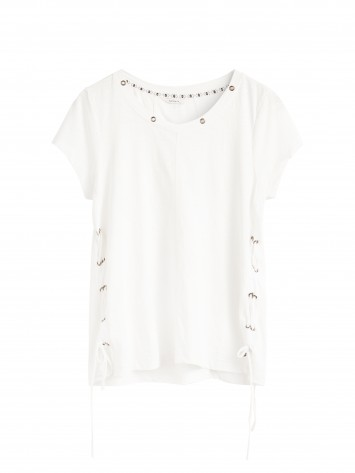 T-Shirt mit Lace-up - Lily White /