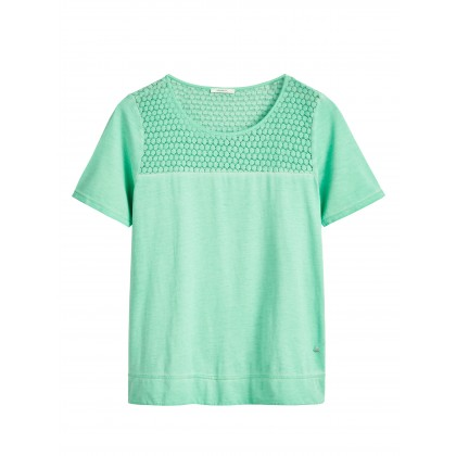 Romantisches T-Shirt mit Ajourdetail - Neptune Green /