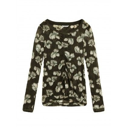 Top mit Blumenprint - Dark Olive /