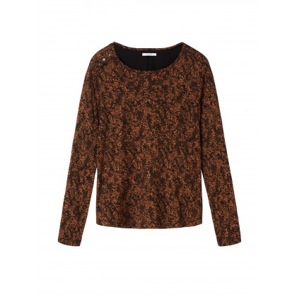 Weicher Pullover mit Muster - Winter leaf /