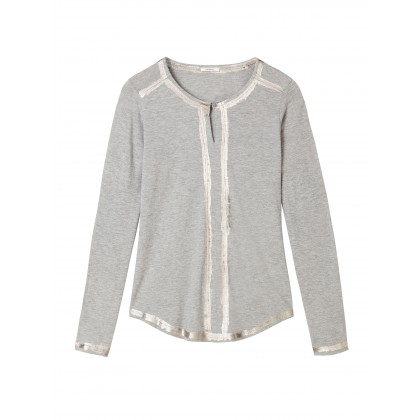 Long sleeve top with shiny stripe print - Mid Grey HTR /