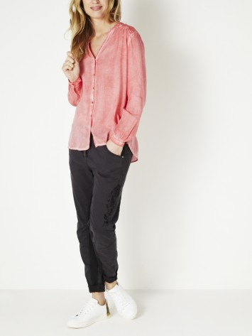 Bluse mit Zickzack-Muster - Tea Rose /