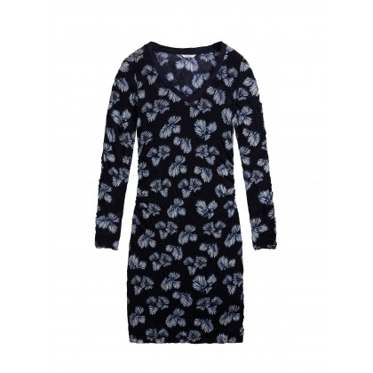 Fitted dress with floral print - True Blue /