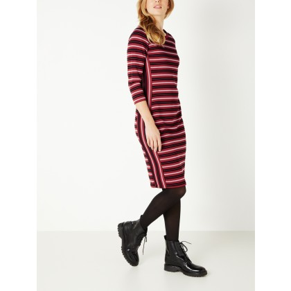 Gestreiftes Jacquard-Kleid - Brick Red /