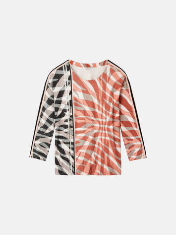 Top mit asymmetrischem Zebra-Print - Burned Red /