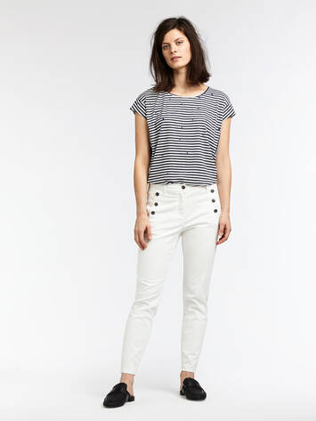 Striped T-shirt with dotted print - Maritime Blue /