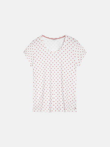 T-Shirt mit All-over-Sternmuster - Pure White /