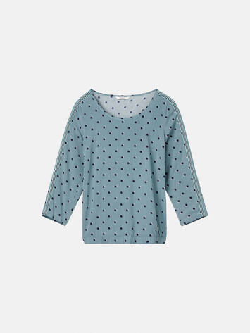 Top mit Prints und Paspel - Anise Green /