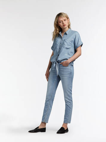 Joy Denim Bluse mit Knopfdetail - Light Blue Denim /