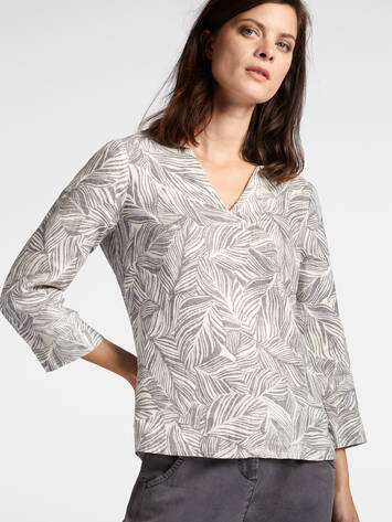 Linen blouse with organic print /