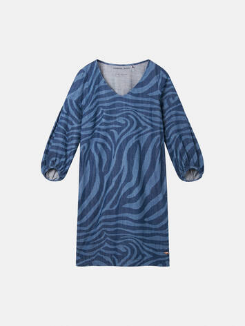 Jeanskleid mit Zebra-Print - Medium Blue Denim /
