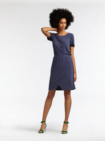 Wrap dress with openwork detail - Navy /