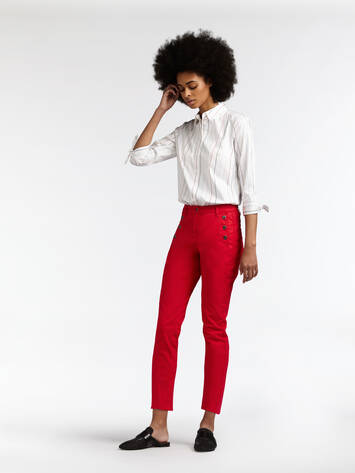 High Waist Skinny Sropped  - Pop Red /